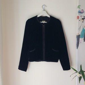 Wilfred silk blend quilted velvet zip jacket